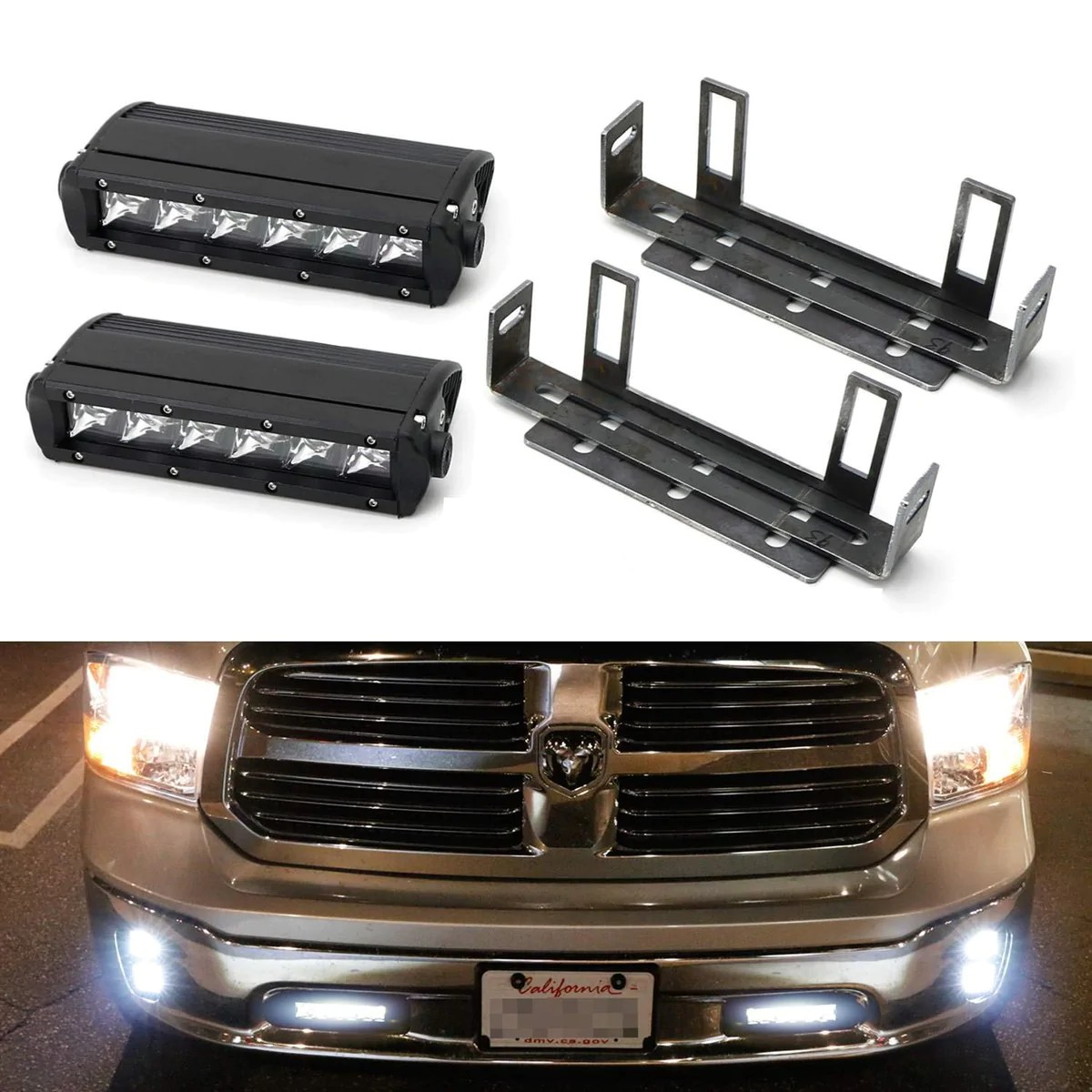 lower bumper led light bar kit for 2011 18 dodge ram 1500 includes 2 30w high power cree led lightbars tow hook opening area brackets on off switch  [ 1200 x 1200 Pixel ]