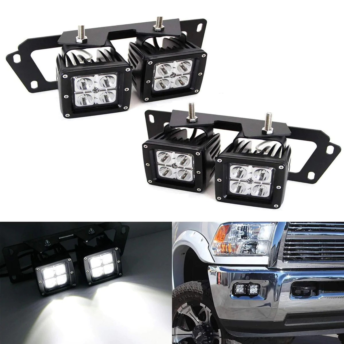 09 12 dodge ram 1500 10 18 2500 3500 led pod fog light kit ijdmtoy com [ 1200 x 1200 Pixel ]
