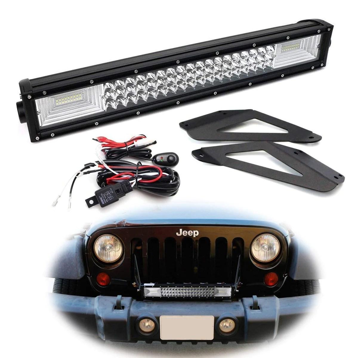 07 17 jeep wrangler jk front grille mount led light bar kit ijdmtoy com [ 1200 x 1200 Pixel ]