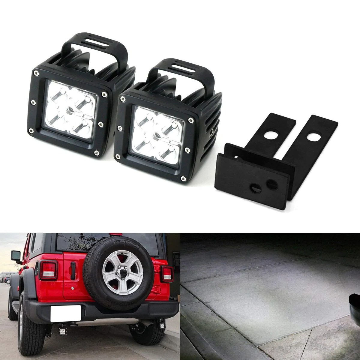 rear bumper searchlight reverse led pod light kit for 2018 up jeep wrangler jl includes 2 20w high power cree led pods rear bumper frame mounting  [ 1200 x 1200 Pixel ]