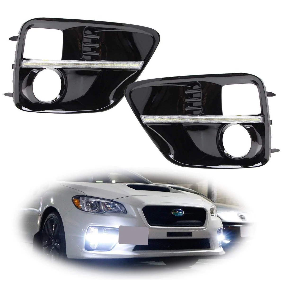 hight resolution of xenon white or switchback led daytime running lights for 2015 2017 subaru wrx sti w jdm style piano black finish fog lamp bezels xenon white led as drl