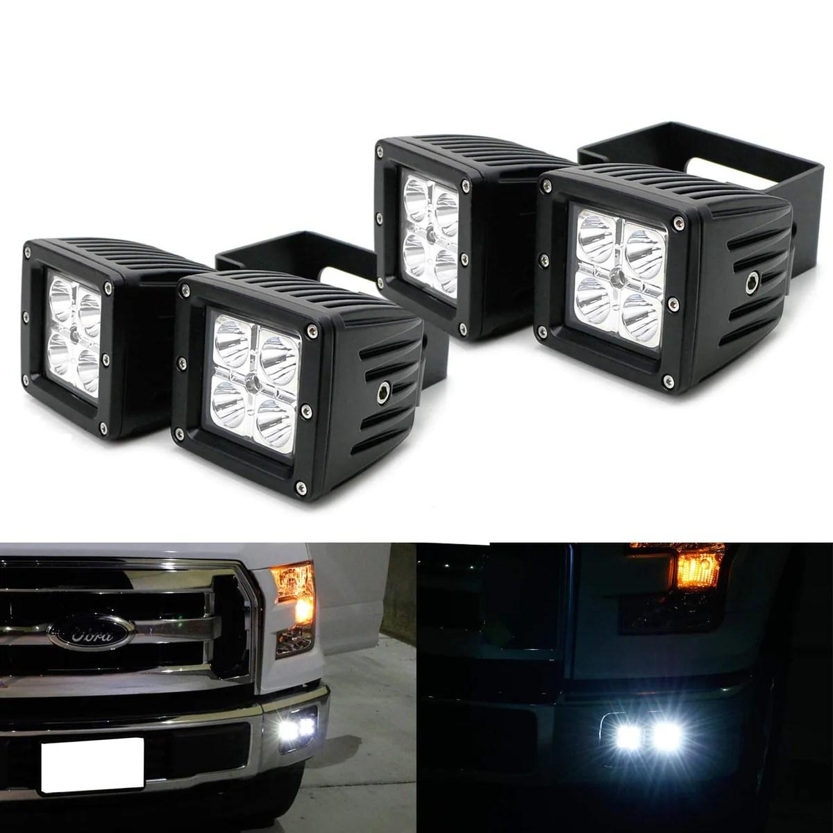15 up ford f150 17 up f250 f350 dual led pod fog light kit ijdmtoy com [ 1200 x 1200 Pixel ]