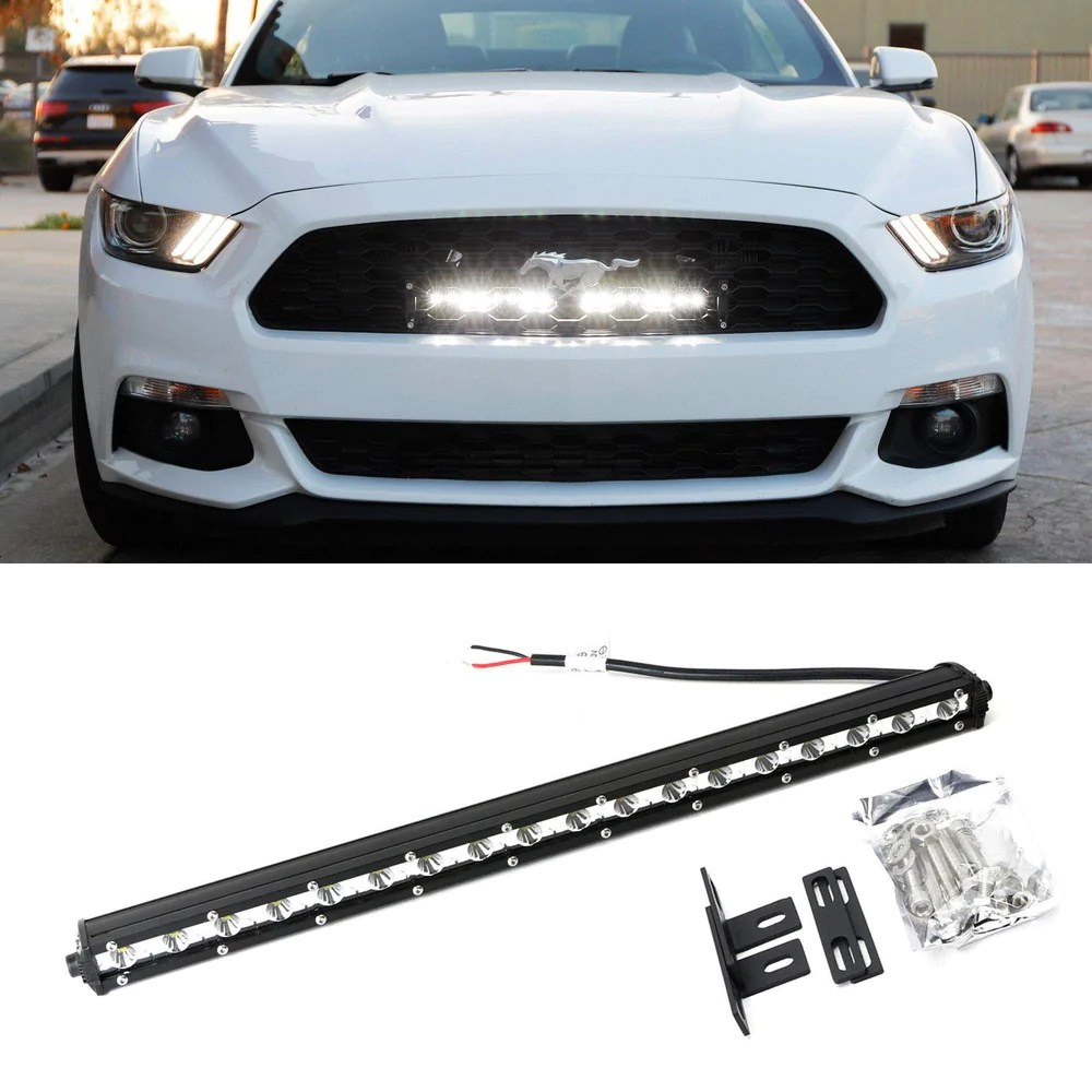 hight resolution of behind grille mount 20 led ultra slim light bar kit for 2015 up ford
