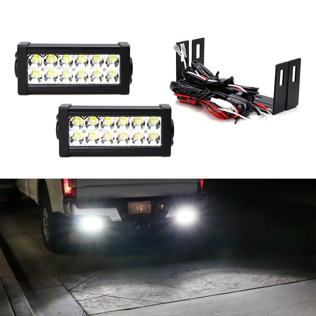 led light bar kit for 2012 up toyota tacoma 2014 up tundra 2 36w high power led lightbars bumper frame mounting brackets on off switch wiring [ 1200 x 1200 Pixel ]
