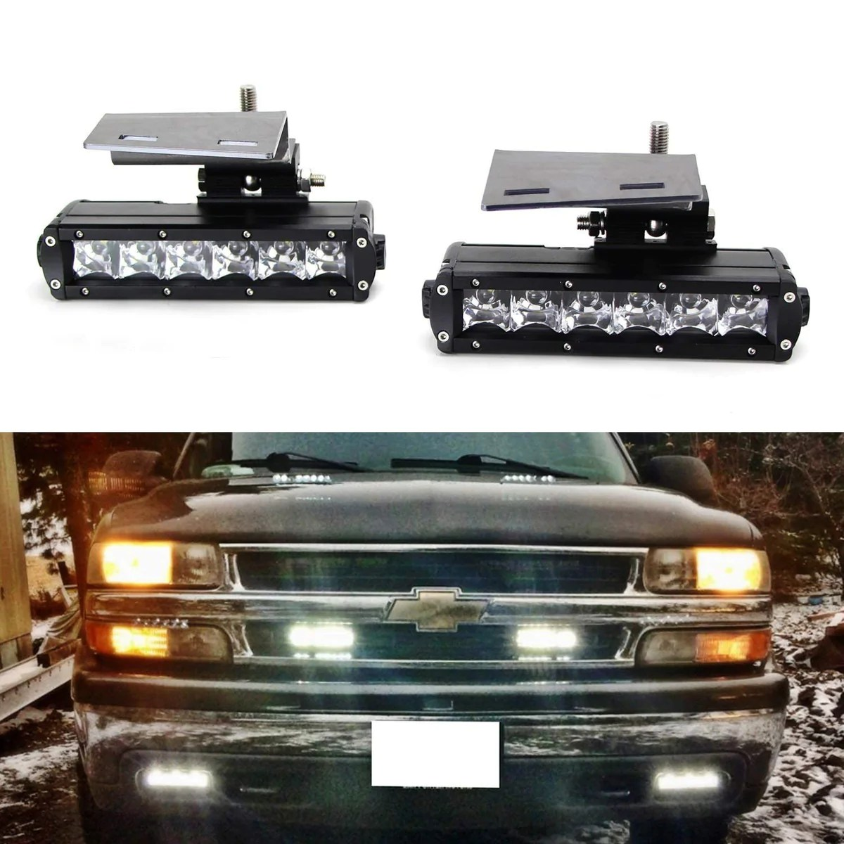 led light bar fog lamps kit for 99 02 chevrolet silverado 1500 2500 00 01 3500 00 2006 suburban tahoe includes 2 30w cree led light bars  [ 1200 x 1200 Pixel ]