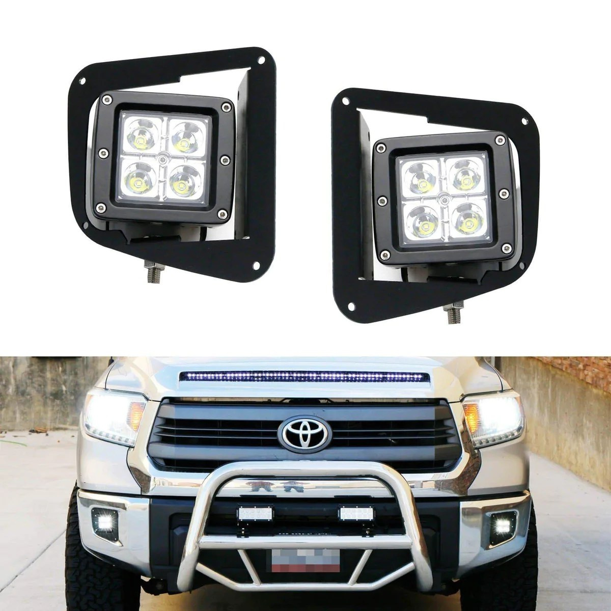 led pod light fog lamp kit for 2014 up toyota tundra includes 2 20w high power cree led cubes foglight bezel covers mounting brackets wiring adapter  [ 1200 x 1200 Pixel ]