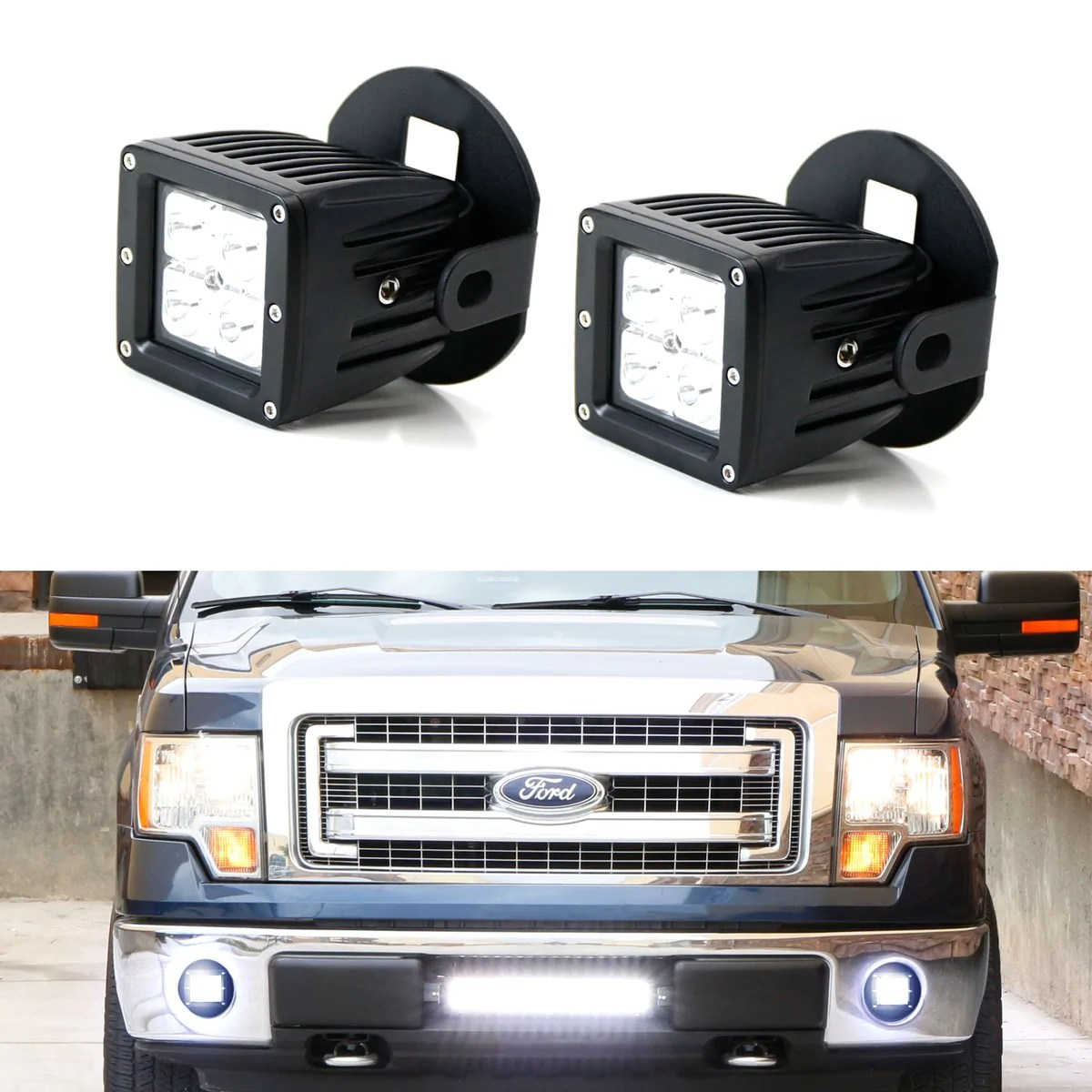 led pod light fog lamp kit for 2006 14 ford f150 2011 14 lincoln mark lt includes 2 20w high power cree led cubes foglight location mounting brackets  [ 1200 x 1200 Pixel ]