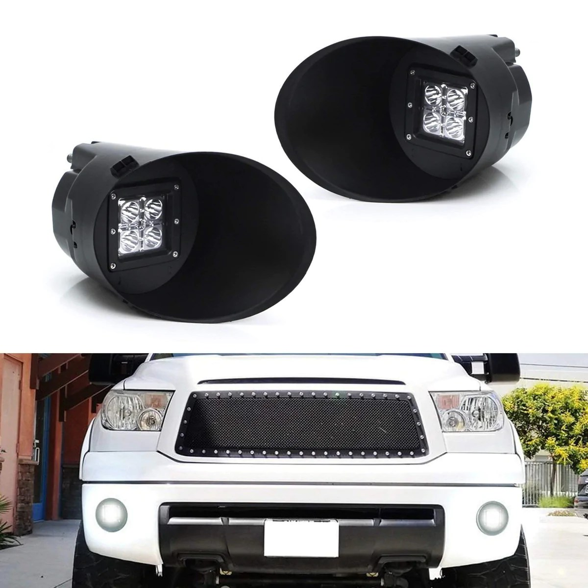 hight resolution of led pod light fog lamp kit for 2007 13 toyota tundra includes 2 20w high power cree led cubes foglight bezel covers fog location mounting brackets