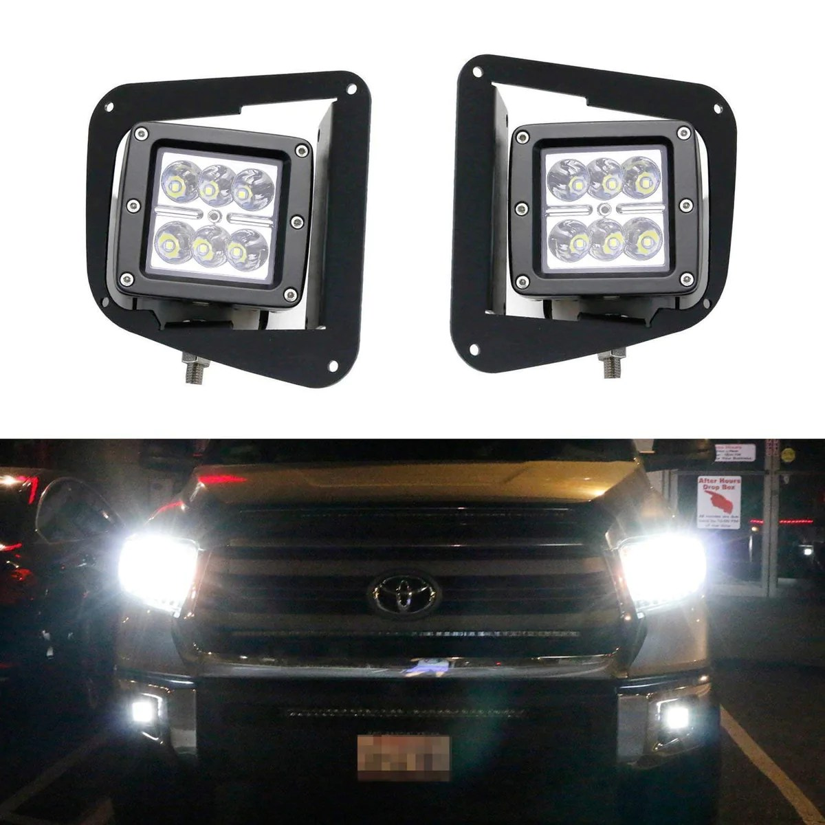 led pod light fog lamp kit for 2014 up toyota tundra includes 2 24w high power 2x3 cree led cubes foglight location mount brackets wiring adapter  [ 1200 x 1200 Pixel ]