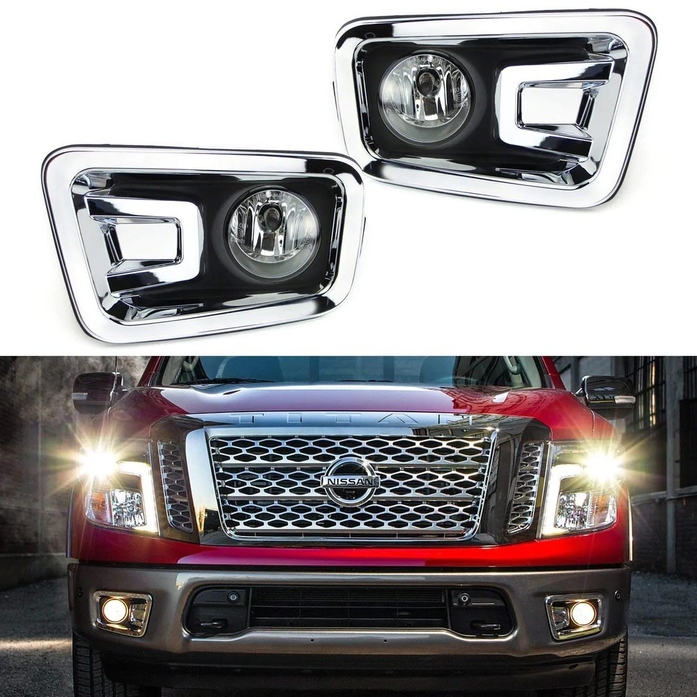 clear lens fog lights foglamp kit with halogen bulbs bezel covers on off [ 1000 x 1000 Pixel ]