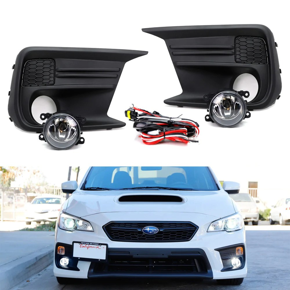complete set clear or smoked lens fog light kit with foglamp bezel covers wiring harness [ 1000 x 1000 Pixel ]