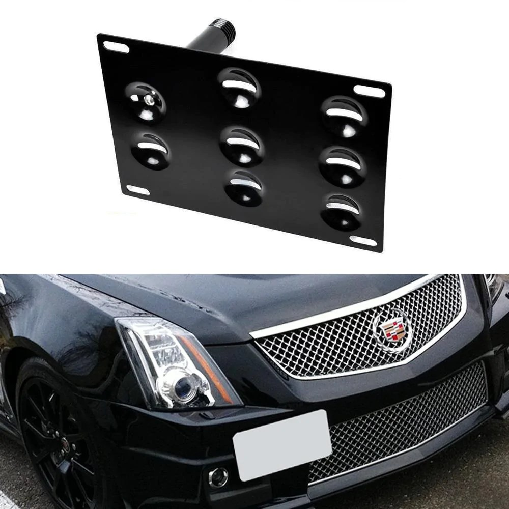 no drill front bumper tow hook license plate mounting bracket adapter kit for 2008 2013 [ 1000 x 1000 Pixel ]