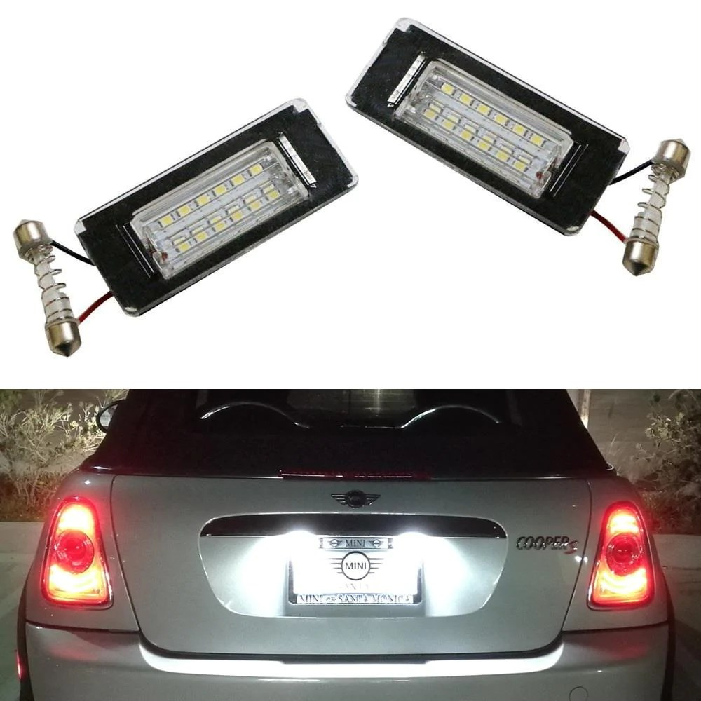 oem fit 3w full led license plate light kit for 2006 14 mini cooper [ 1000 x 1000 Pixel ]
