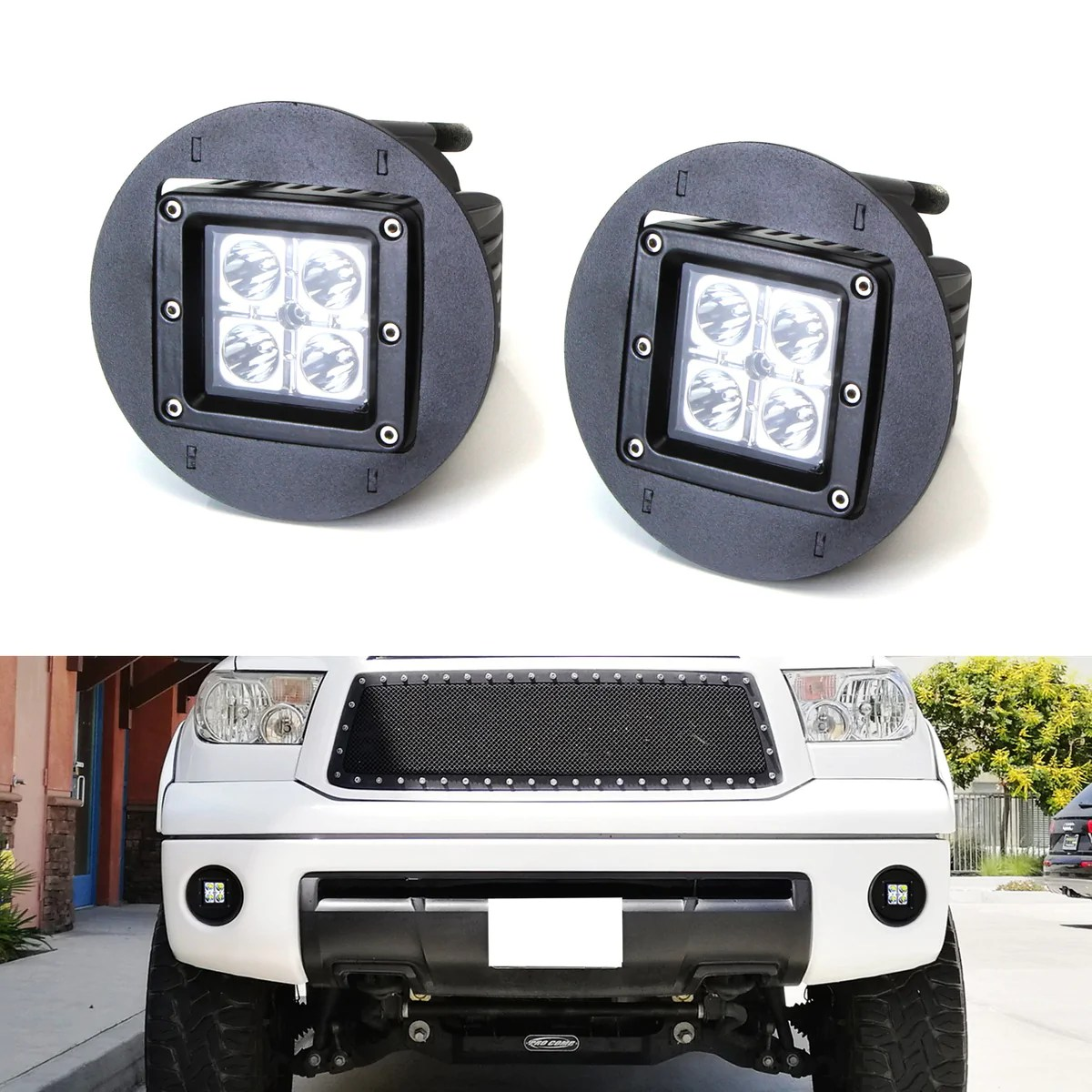 led pod light fog lamp kit for toyota tundra tacoma sequoia solara includes 2 20w high power cree led cubes foglight location mounting brackets  [ 1200 x 1200 Pixel ]