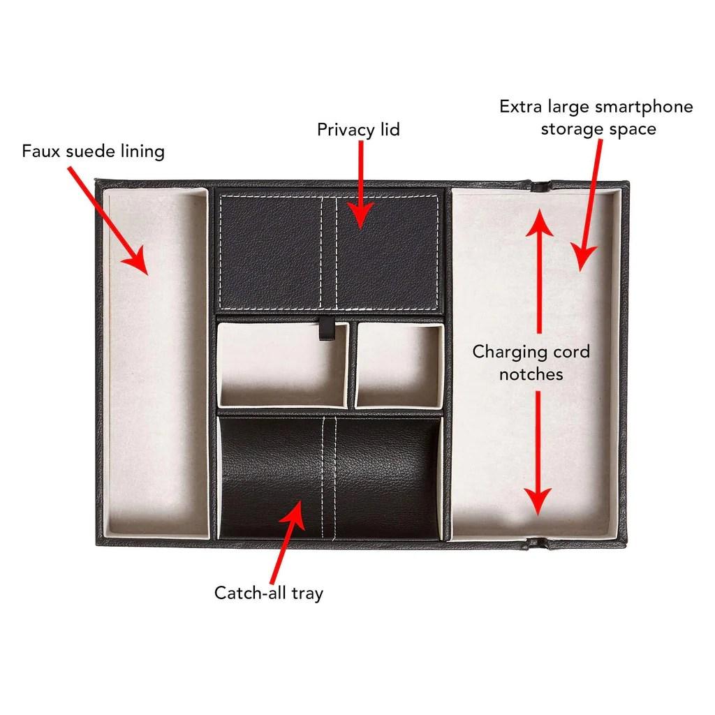 Storage Bedside Tray Organizer Nightstand Storage Phone