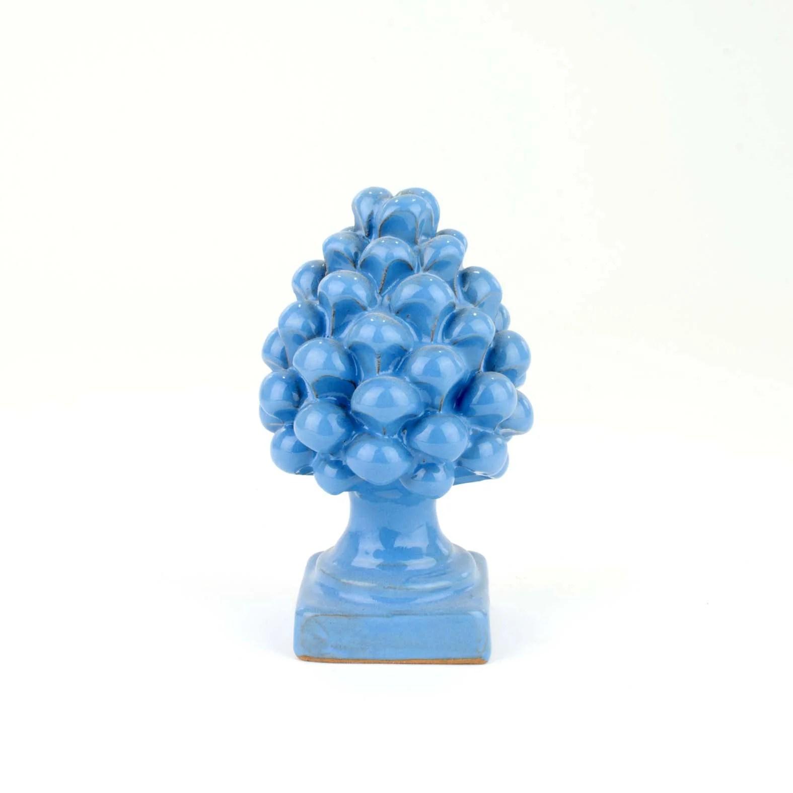 artistica coppia teste lume ceramica caltagirone. Pigna Piccola Azzurra H Cm 12 In Ceramica Artistica Di Caltagirone Fat Cear Ceramiche
