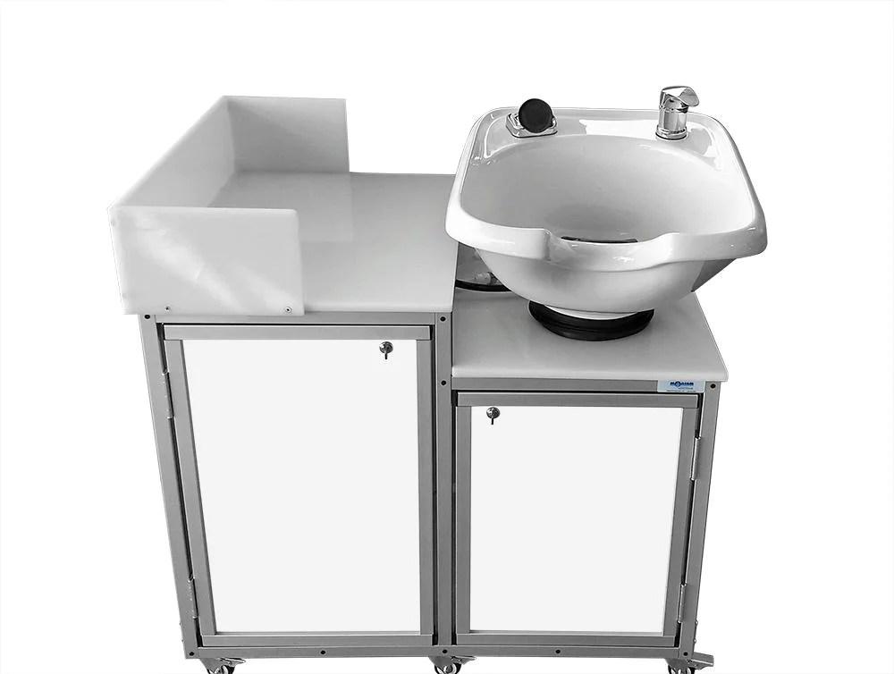portable shampoo sink w tilt mechanism and ceramic bowl by monsam