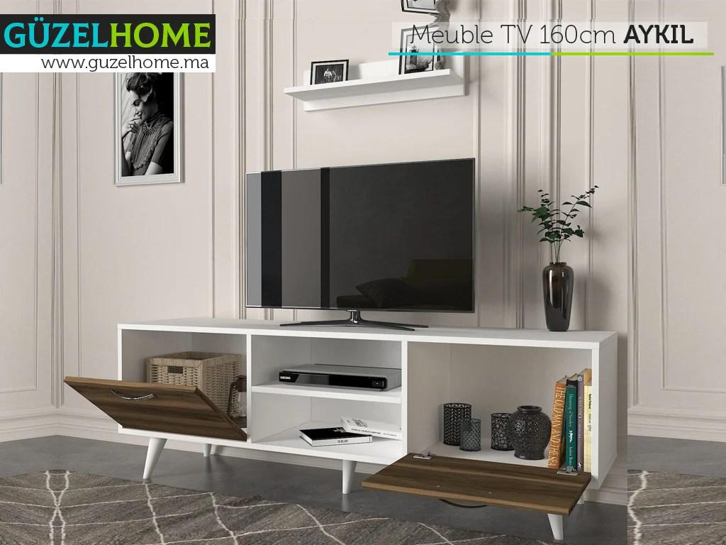 meuble tv 160cm aykil noyer et blanc