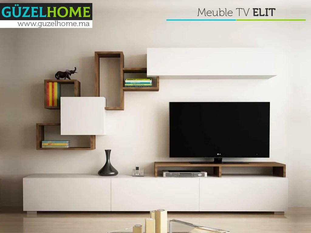 meuble tv elit noyer et blanc