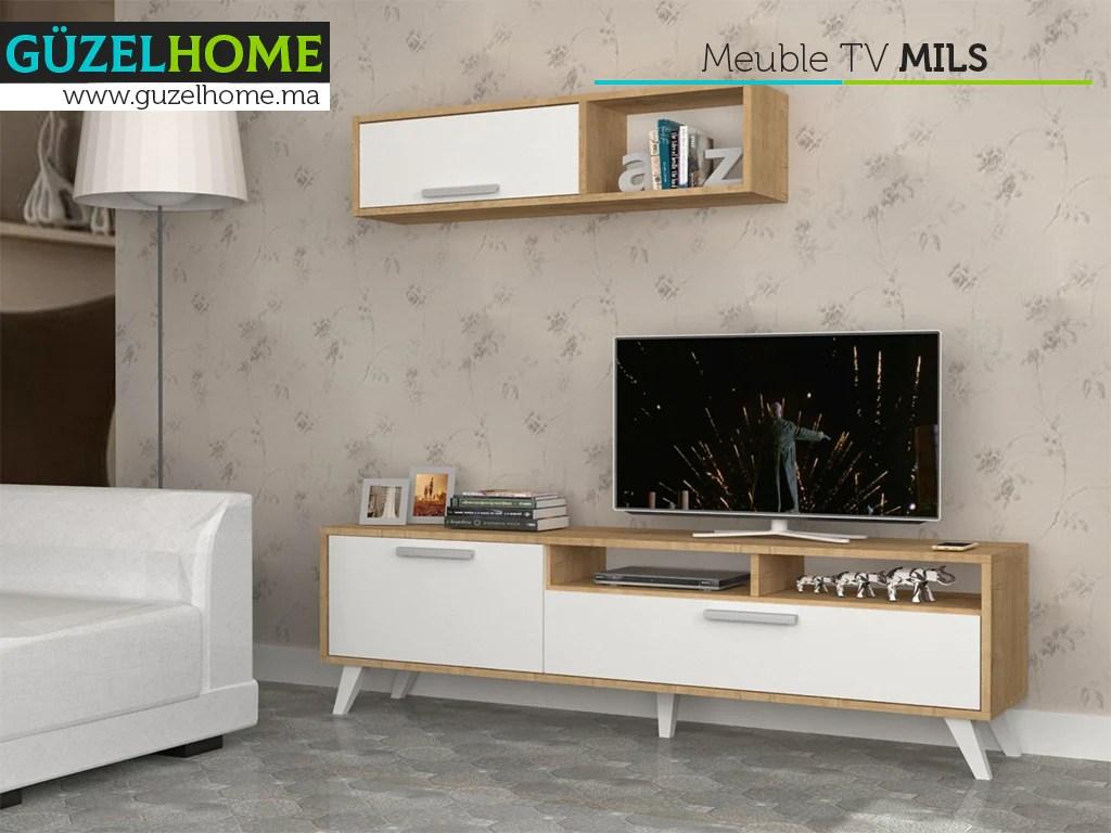 mils 180cm meuble tv avec rangement chene et blanc guzelhome