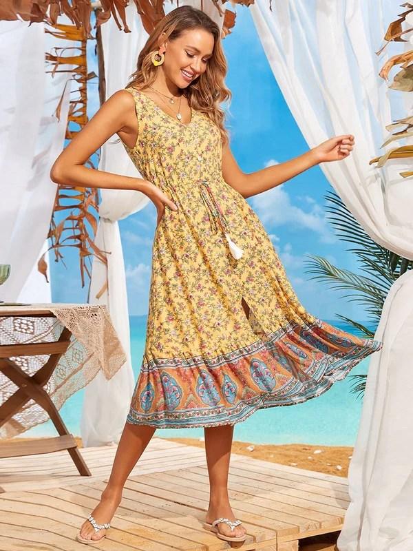 yellow floral print beach wedding guest dress
