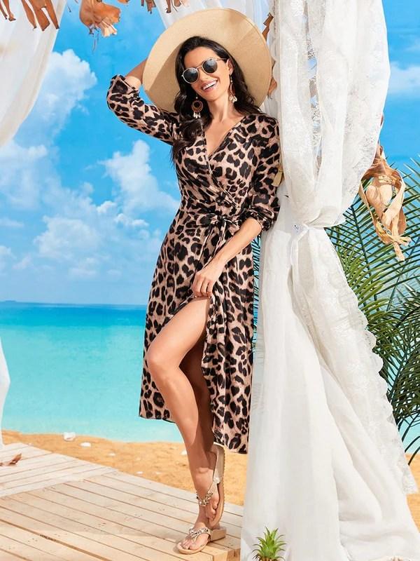 leopard print beach wedding guest dress for mature women