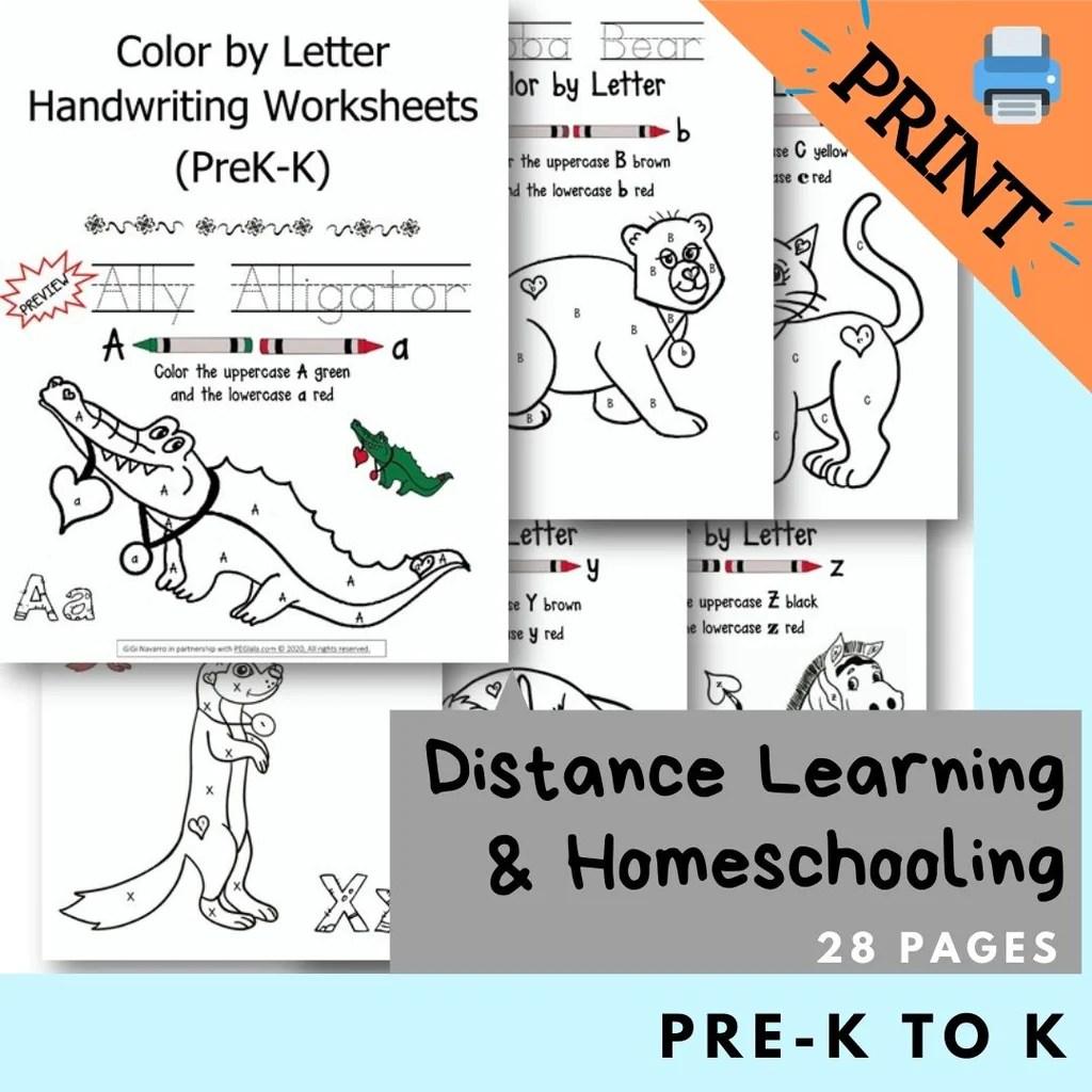 Print) Color by Letter Handwriting Worksheets (PreK-K) [ 1024 x 1024 Pixel ]