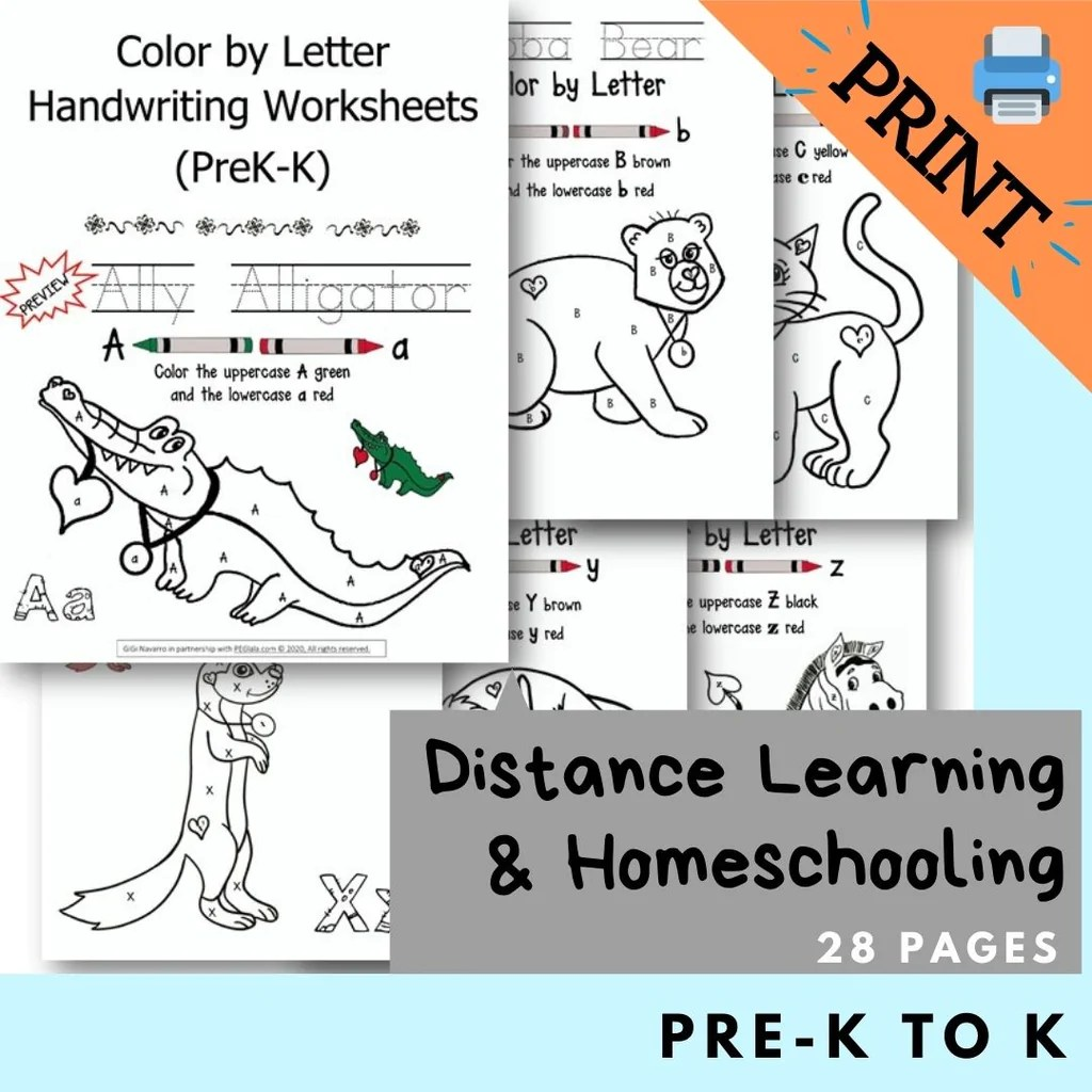 small resolution of Print) Color by Letter Handwriting Worksheets (PreK-K)