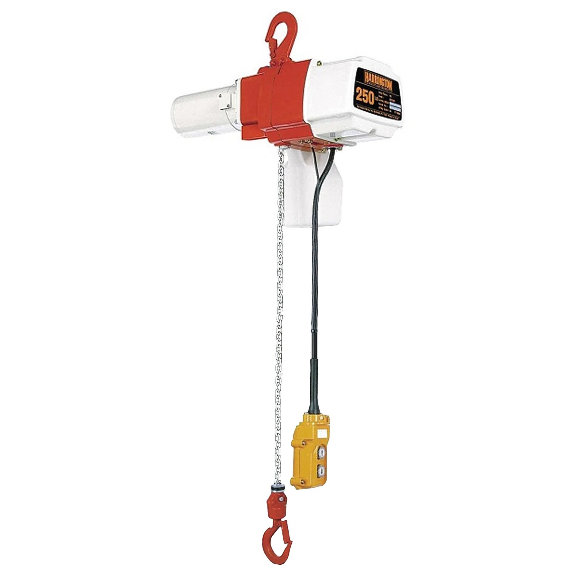 hight resolution of 1 2 ton harrington ed series adjustable single speed single phase cranedepot