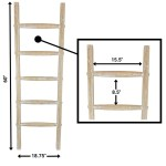 Wooden Rustic Blanket Ladder Decorative Rustic Quilt Rack White Washed Finish 5ft