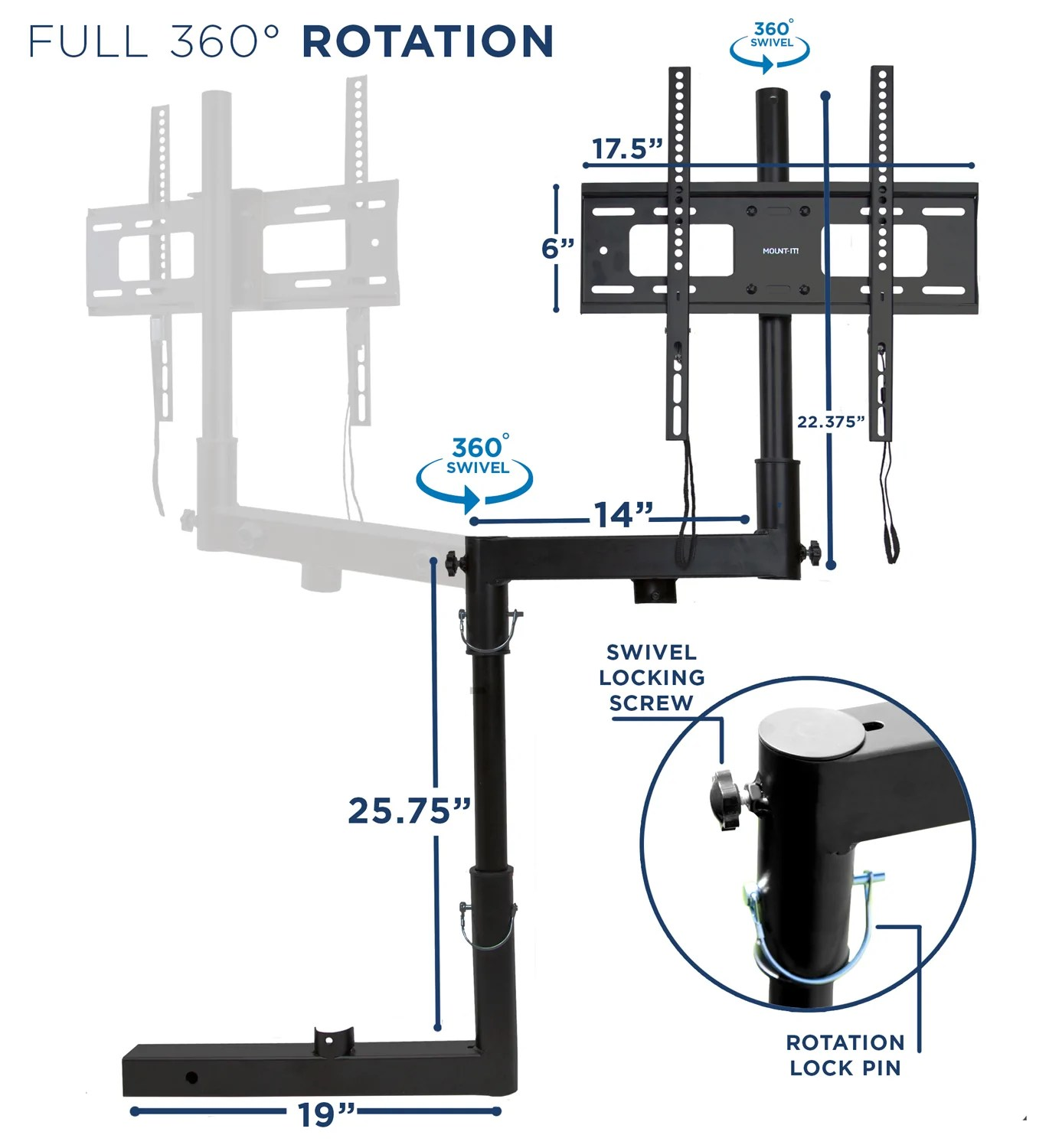 hight resolution of  tailgate tv trailer hitch mount mi 380