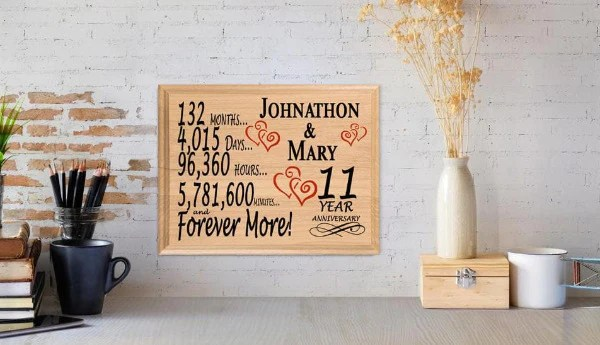 11th Anniversary Gift Sign Personalized 11 Year Same Day