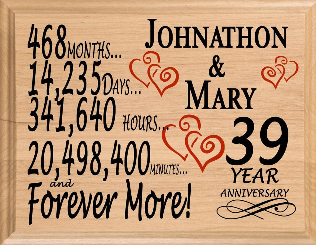 39 Year Anniversary Gift Sign Personalized 39th Wedding