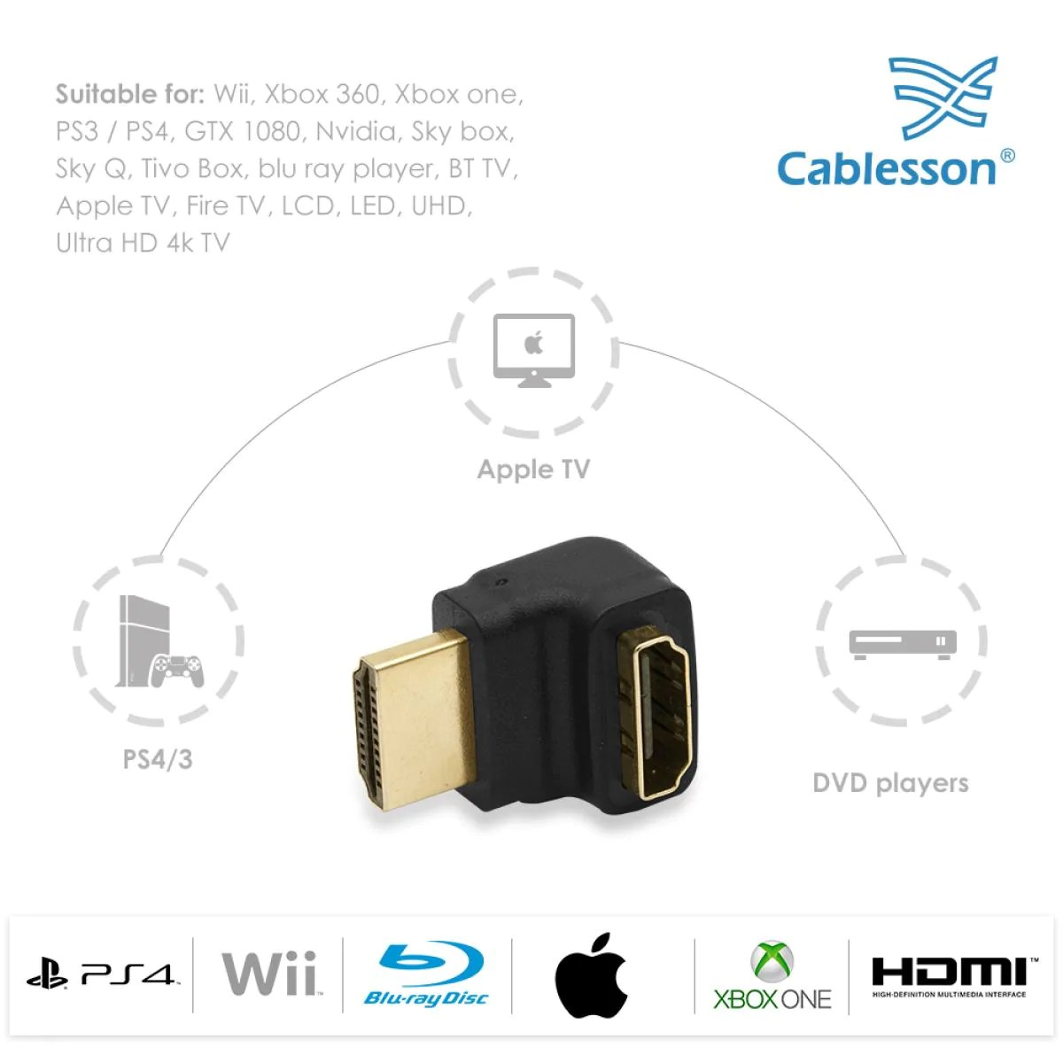 cablesson right angle 270 degree hdmi adapter 24k gold plated v1 3  [ 1200 x 1200 Pixel ]