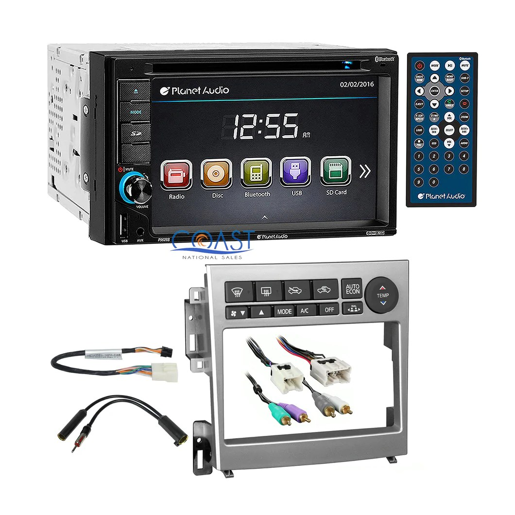 hight resolution of planet audio dvd usb bluetooth stereo silver dash kit harness for infiniti g35