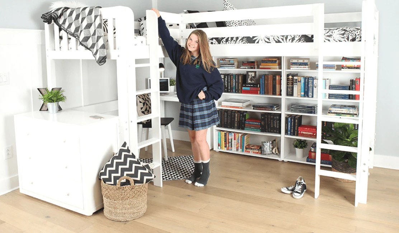 Study Store Sleep Two With This Stylish Corner Study Loft Bed Desig Maxtrix Kids