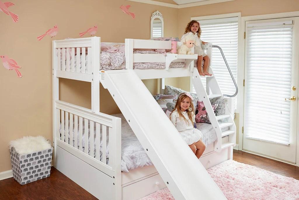 girls bunk bed with slide maxtrix kids