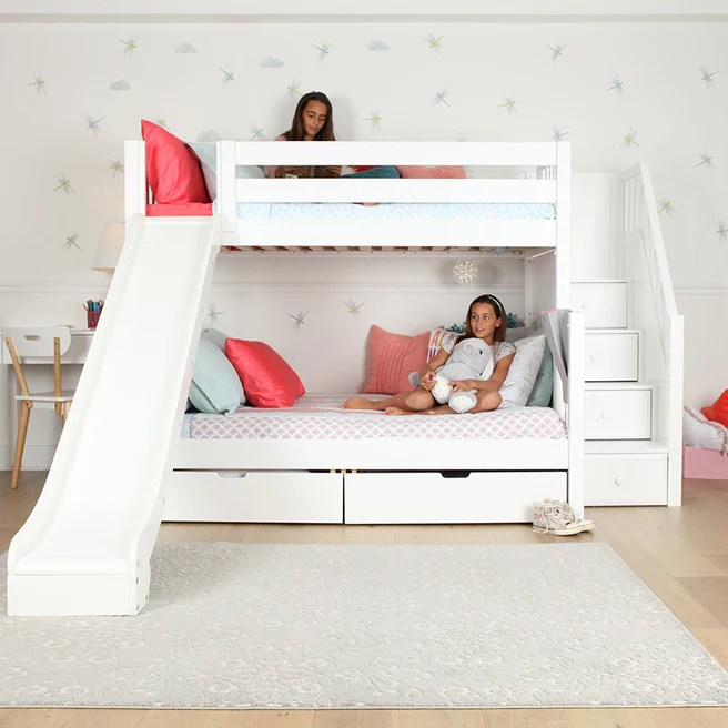 Medium Twin Over Full Bunk Bed With Stairs Slide Maxtrix Kids