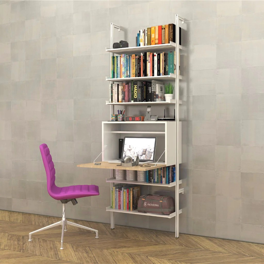 Pal33fld Fold Desk Modern Shelving