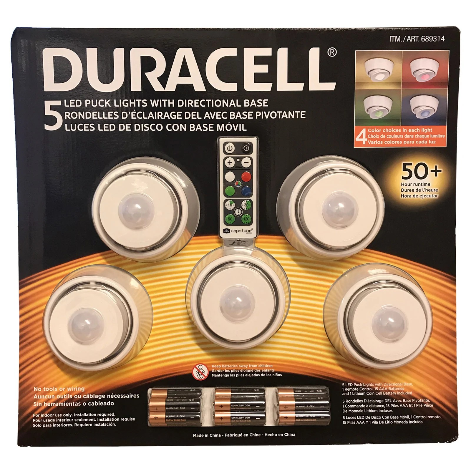 duracell capstone 5 led puck lights directional base remote control 4 colours
