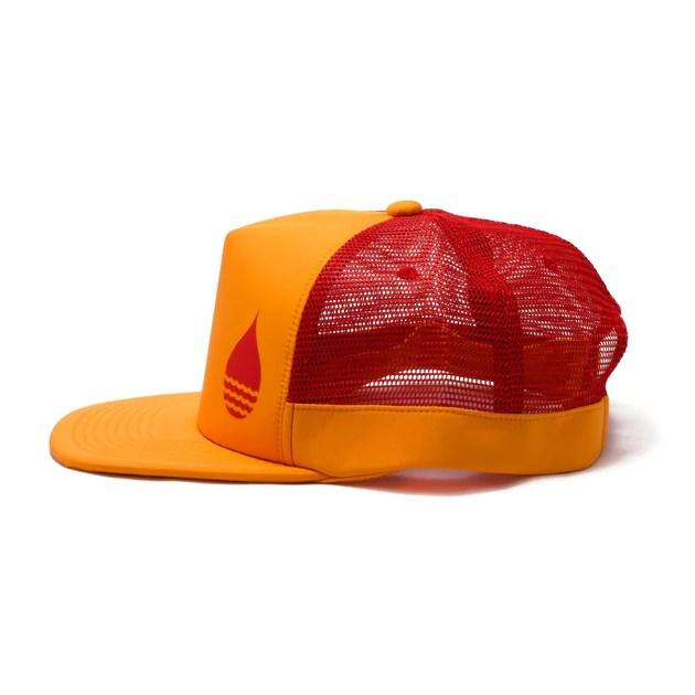 tangerine floating trucker hat