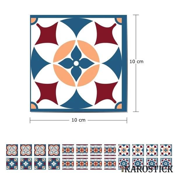 stickers carrelages carreaux ciment alliance rouge et bleu