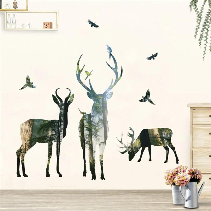 foret cerf oiseaux volants stickers muraux pour salon restaurant bureau decor stickers muraux art mural affiche