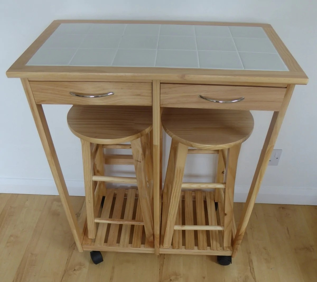 2 seater breakfast bar set folding kitchen table stools drawer tile top and wood