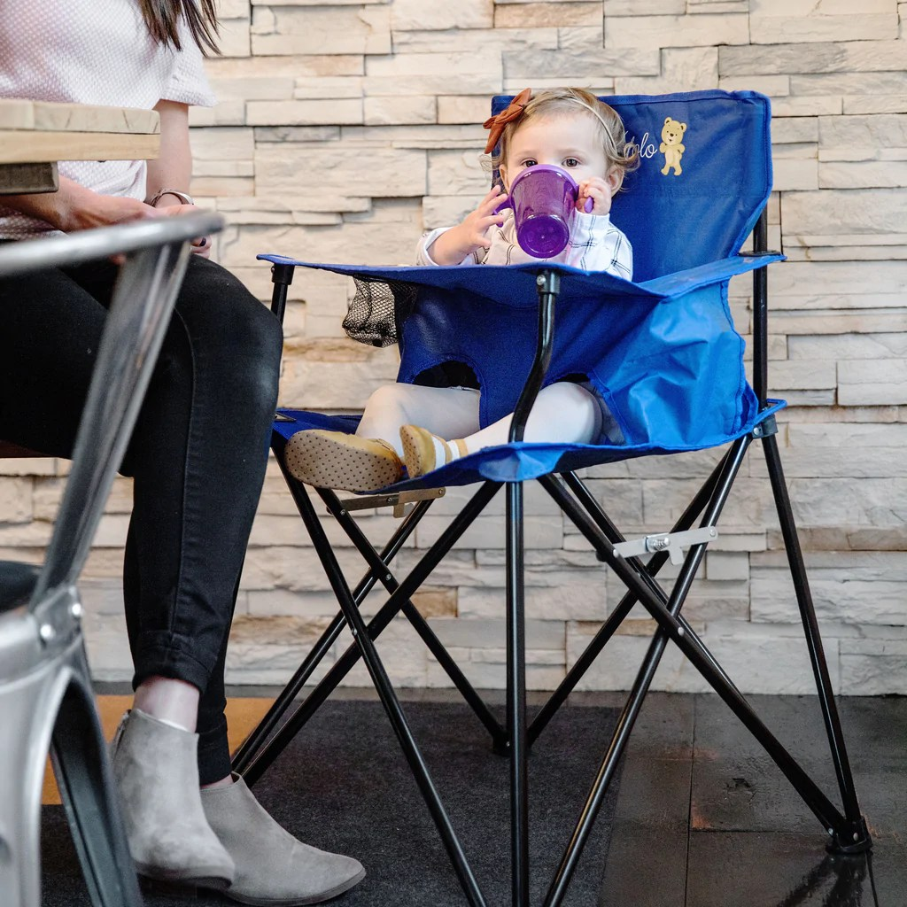 baby camping high chair double wide portable for travel highchair with eating tray blue
