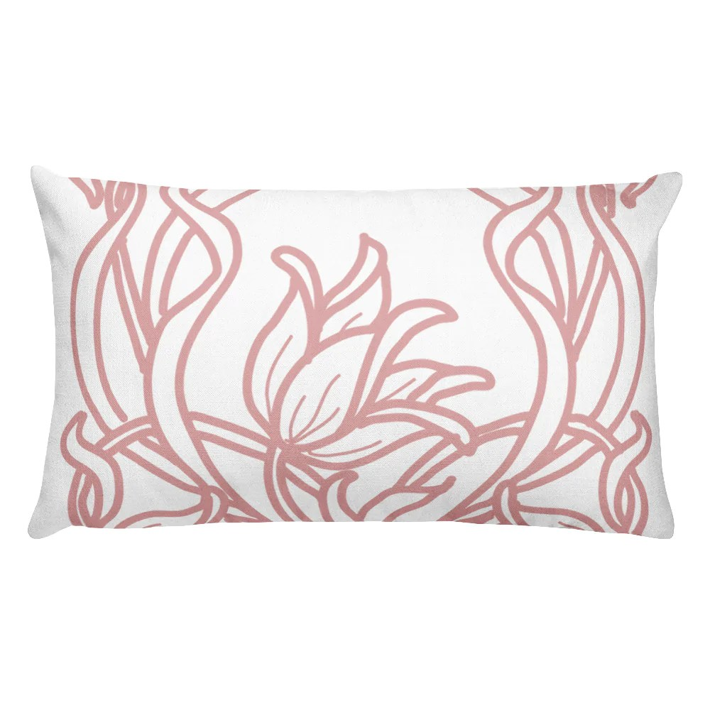 blush art deco flowers decorative lumbar pillow love
