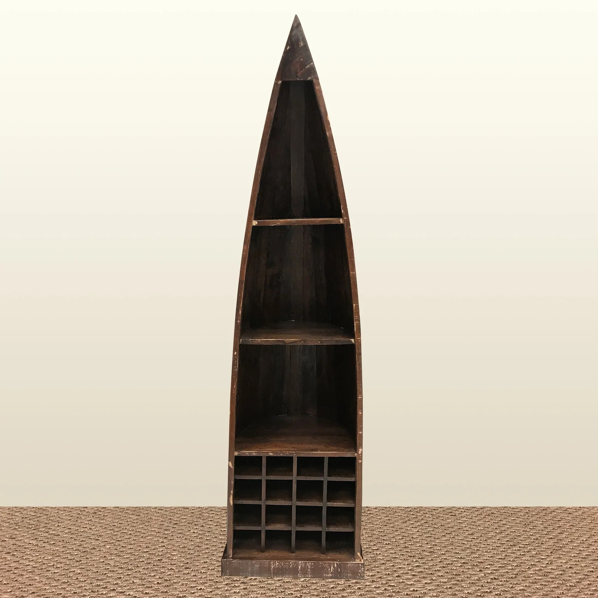 Rustic Solid Reclaimed Wooden Boat Shaped Bookcase Bai S