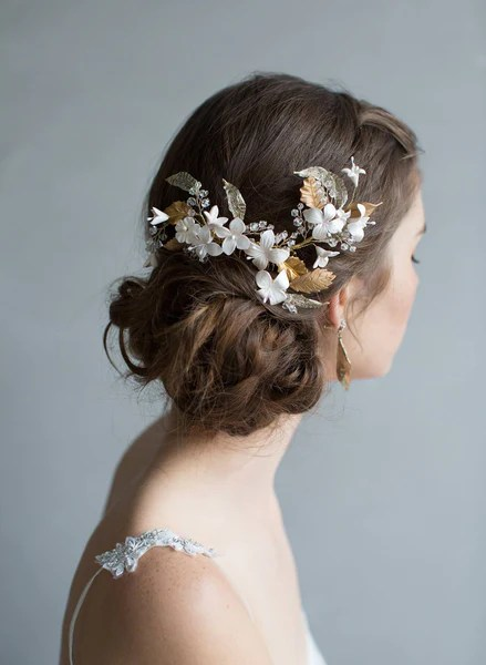Glinting Leaves And Blushing Flowers Headpiece Style