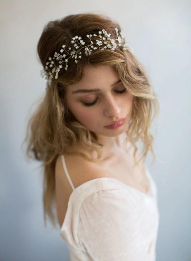 bridal hair vine - baby's breath ethereal hair vine - style
