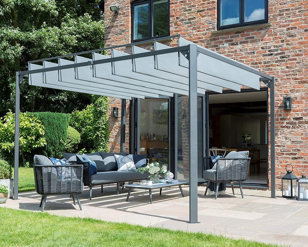 Modern Grey Slatted Pergola Canopy Garden Gazebo Pavilion Square 3m X Clara Shade Sails